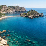 Panoramic view of Isola Bella, Taormina, Sicily